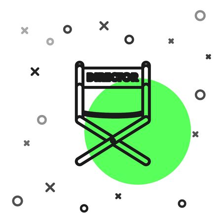 Black line Director movie chair icon isolated on white background. Film industry. Vector Illustration