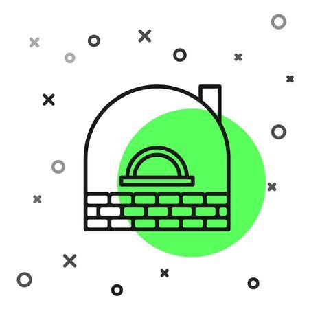 Black line Brick stove icon isolated on white background. Brick fireplace, masonry stove, stone oven icon. Vector Illustration