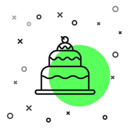 Black line Cake icon isolated on white background. Happy Birthday. Vector Illustration Foto de archivo - 134798878