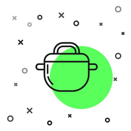Black line Cooking pot icon isolated on white background. Boil or stew food symbol. Vector Illustration