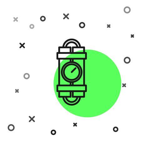 Black line Detonate dynamite bomb stick and timer clock icon isolated on white background. Time bomb - explosion danger concept. Vector Illustration