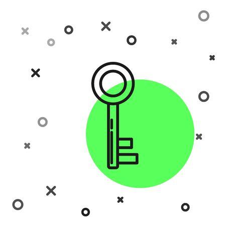 Black line Key icon isolated on white background. Vector Illustration