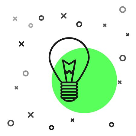 Black line Light bulb with concept of idea icon isolated on white background. Energy and idea symbol. Inspiration concept. Vector Illustration