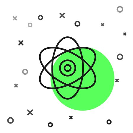 Black line Atom icon isolated on white background. Symbol of science, education, nuclear physics, scientific research. Electrons and protons sign. Vector Illustration Illustration
