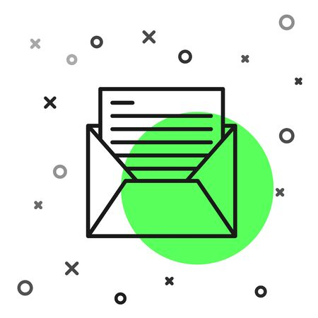 Black line Mail and e-mail icon isolated on white background. Envelope symbol e-mail. Email message sign. Vector Illustration  イラスト・ベクター素材