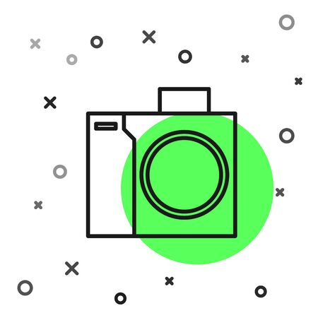 Black line Photo camera for diver icon isolated on white background. Foto camera icon. Diving underwater equipment. Vector Illustration