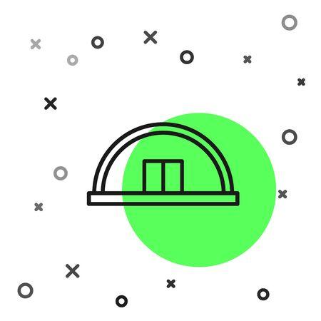 Black line Hangar icon isolated on white background. Vector Illustration