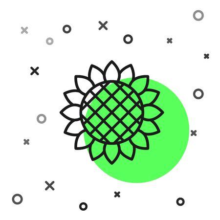 Black line Sunflower icon isolated on white background. Vector Illustration Иллюстрация