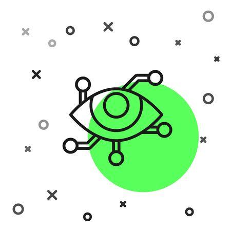 Black line Virtual reality icon isolated on white background. Vector Illustration Illustration