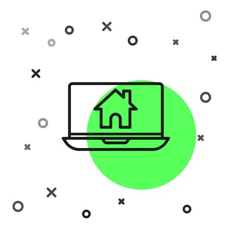 Black line Laptop and smart home icon isolated on white background. Remote control. Vector Illustration Ilustracja