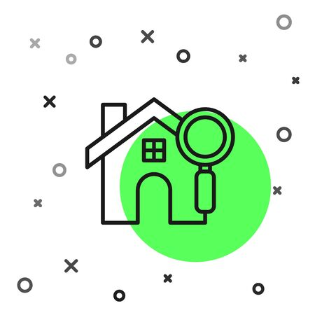 Black line Search house icon isolated on white background. Real estate symbol of a house under magnifying glass. Vector Illustration 向量圖像