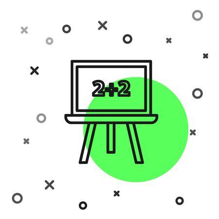 Black line Chalkboard icon isolated on white background. School Blackboard sign. Vector Illustration