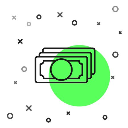 Black line Stacks paper money cash icon isolated on white background. Money banknotes stacks. Bill currency. Vector Illustration Ilustracja