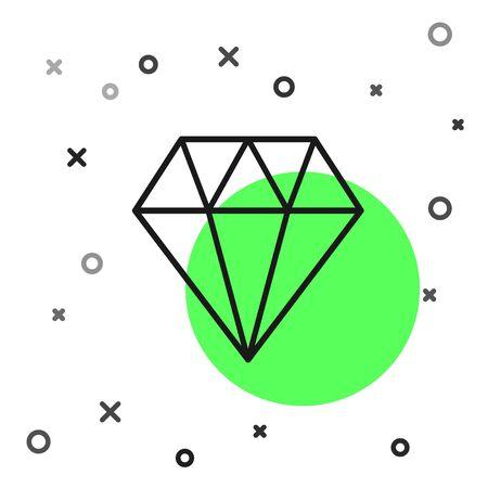 Black line Diamond icon isolated on white background. Jewelry symbol. Gem stone. Vector Illustration Иллюстрация