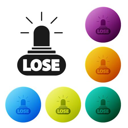 Black Casino losing icon isolated on white background. Set icons colorful circle buttons. Vector Illustration