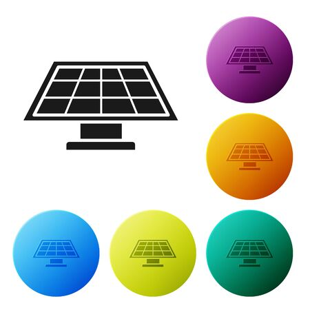 Black Solar energy panel icon isolated on white background. Set icons colorful circle buttons. Vector Illustration