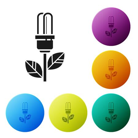 Black Light bulb with leaf icon isolated on white background. Eco energy concept. Alternative energy concept. Set icons colorful circle buttons. Vector Illustration
