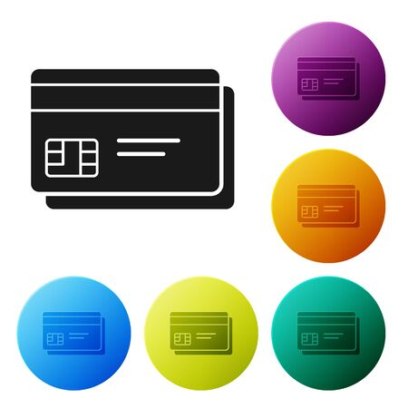 Black Credit card icon isolated on white background. Online payment. Cash withdrawal. Financial operations. Shopping sign. Set icons colorful circle buttons. Vector Illustration