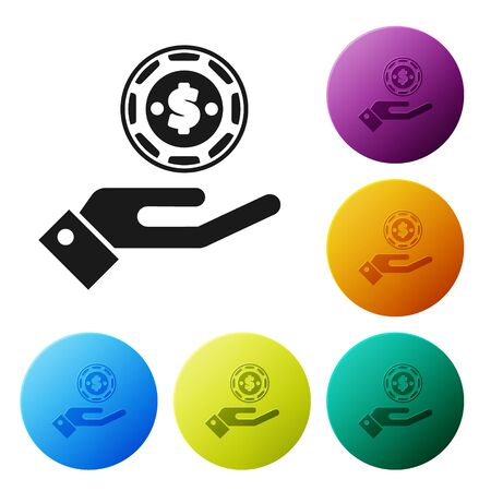 Black Hand holding casino chips icon isolated on white background. Casino gambling. Set icons colorful circle buttons. Vector Illustration