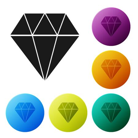 Black Diamond icon isolated on white background. Jewelry symbol. Gem stone. Set icons colorful circle buttons. Vector Illustration