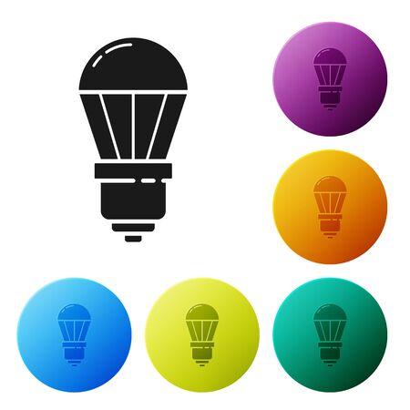 Black LED light bulb icon isolated on white background. Economical LED illuminated lightbulb. Save energy lamp. Set icons colorful circle buttons. Vector Illustration