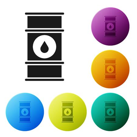 Black Oil barrel line icon isolated on white background. Oil drum container. For infographics, fuel, industry, power, ecology. Set icons colorful circle buttons. Vector Illustration Illusztráció