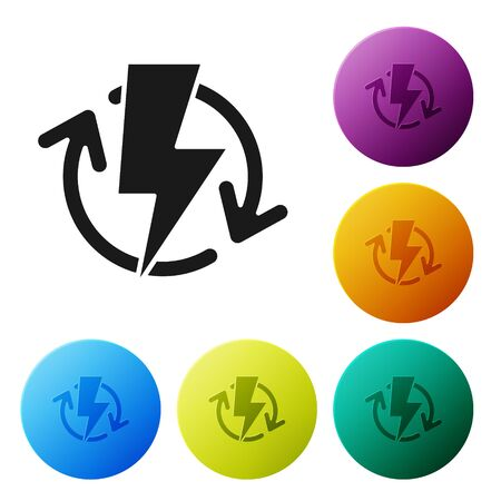 Black Recharging icon isolated on white background. Electric energy sign. Set icons colorful circle buttons. Vector Illustration Illusztráció
