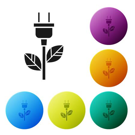 Black Electric saving plug in leaf icon isolated on white background. Save energy electricity icon. Environmental protection icon. Bio energy. Set icons colorful circle buttons. Vector Illustration
