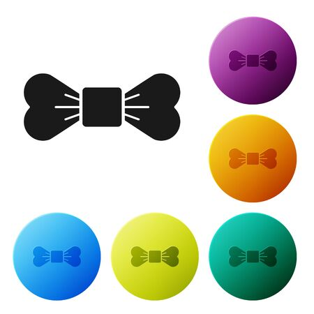 Black Bow tie icon isolated on white background. Set icons colorful circle buttons. Vector Illustration