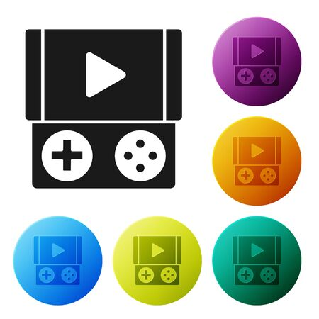 Black Portable video game console icon isolated on white background. Gamepad sign. Gaming concept. Set icons colorful circle buttons. Vector Illustration 矢量图像