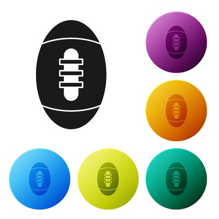Black American Football ball icon isolated on white background. Rugby ball icon. Team sport game symbol. Set icons colorful circle buttons. Vector Illustration