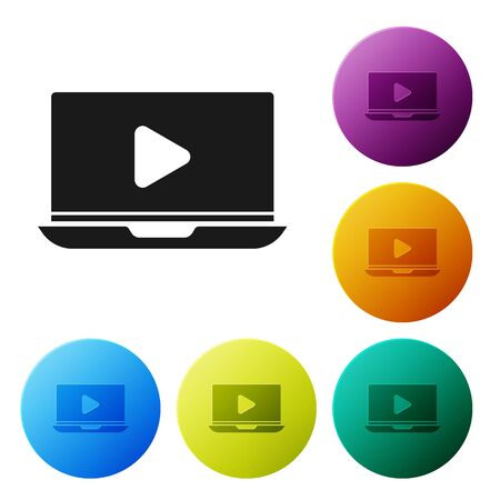 Black Online play video icon isolated on white background. Laptop and film strip with play sign. Set icons colorful circle buttons. Vector Illustration Illusztráció