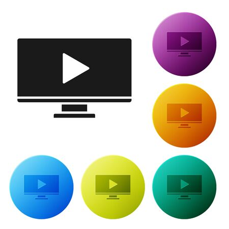 Black Online play video icon isolated on white background. Computer monitor and film strip with play sign. Set icons colorful circle buttons. Vector Illustration