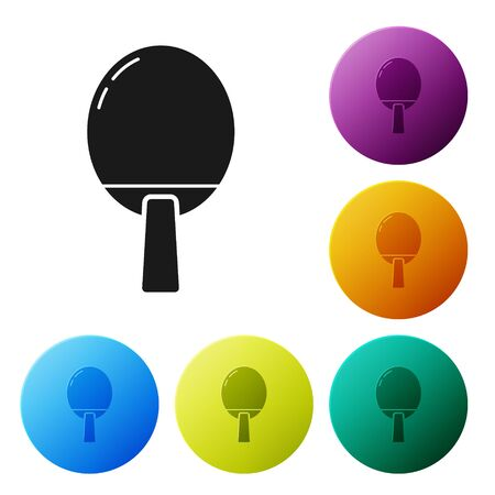 Black Racket for playing table tennis icon isolated on white background. Set icons colorful circle buttons. Vector Illustration