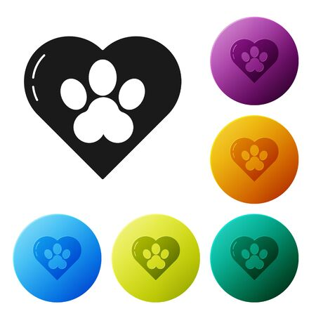 Black Heart with animals footprint icon isolated on white background. Pet paw in heart. Love to the animals. Set icons colorful circle buttons. Vector Illustration Imagens - 134802554
