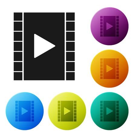 Black Play Video icon isolated on white background. Film strip with play sign. Set icons colorful circle buttons. Vector Illustration