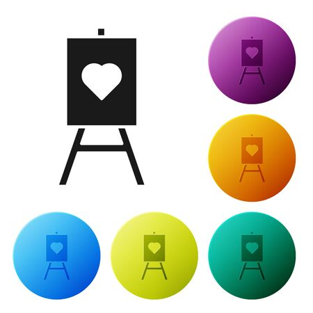 Black Wood easel or painting art boards with heart icon isolated on white background. Set icons colorful circle buttons. Vector Illustration Standard-Bild - 134802816