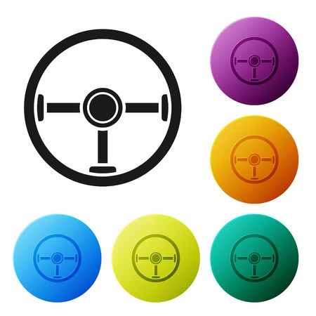 Black Steering wheel icon isolated on white background. Car wheel icon. Set icons colorful circle buttons. Vector Illustration Stock Vector - 134802822