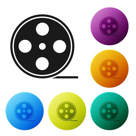 Black Film reel icon isolated on white background. Set icons colorful circle buttons. Vector Illustration Illusztráció