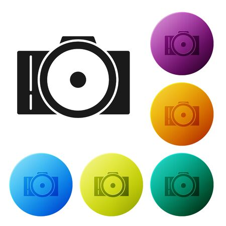 Black Photo camera icon isolated on white background. Foto camera icon. Set icons colorful circle buttons. Vector Illustration Illusztráció
