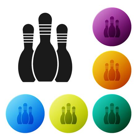 Black Bowling pin icon isolated on white background. Set icons colorful circle buttons. Vector Illustration