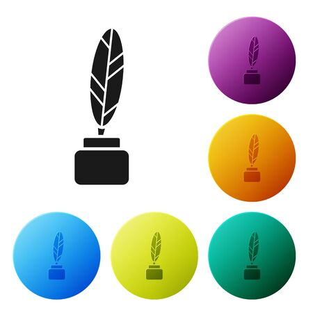Black Feather and inkwell icon isolated on white background. Set icons colorful circle buttons. Vector Illustration