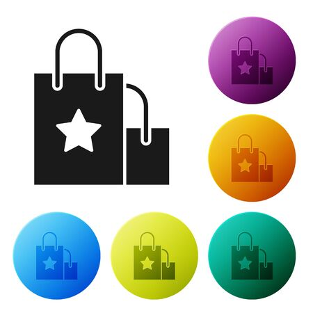 Black Paper shopping bag icon isolated on white background. Package sign. Set icons colorful circle buttons. Vector Illustration