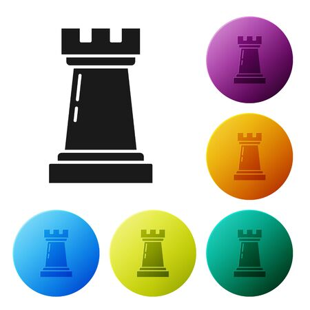 Black Business strategy icon isolated on white background. Chess symbol. Game, management, finance. Set icons colorful circle buttons. Vector Illustration