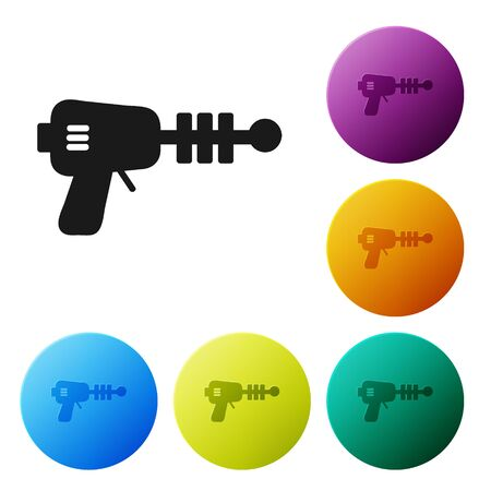 Black Ray gun icon isolated on white background. Laser weapon. Space blaster. Set icons colorful circle buttons. Vector Illustration Ilustrace