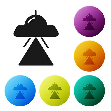 Black UFO flying spaceship icon isolated on white background. Flying saucer. Alien space ship. Futuristic unknown flying object. Set icons colorful circle buttons. Vector Illustration Reklamní fotografie - 134802913