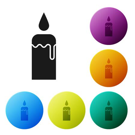 Black Burning candle in candlestick icon isolated on white background. Cylindrical candle stick with burning flame. Set icons colorful circle buttons. Vector Illustration