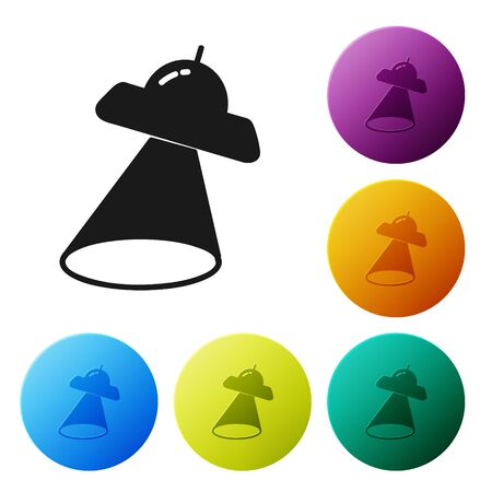 Black UFO flying spaceship icon isolated on white background. Flying saucer. Alien space ship. Futuristic unknown flying object. Set icons colorful circle buttons. Vector Illustration Ilustrace