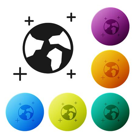 Black Earth globe icon isolated on white background. World or Earth sign. Global internet symbol. Geometric shapes. Set icons colorful circle buttons. Vector Illustration