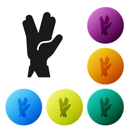 Black Vulcan salute icon isolated on white background. Hand with vulcan greet. Spock symbol. Set icons colorful circle buttons. Vector Illustration